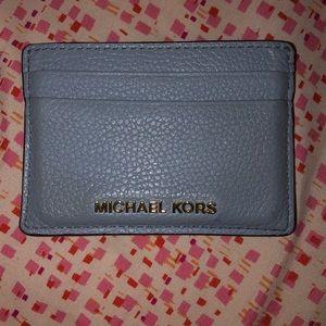 MICHAEL KORS light blue leather cardholder/wallet
